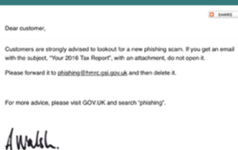 HMRC warns of phishing scams
